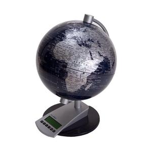 Wereldbol Globe 20cm silver sphere + frame world time