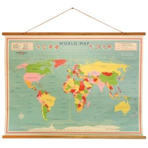 Wereldkaart - vintage wereldkaart tussen houten latjes