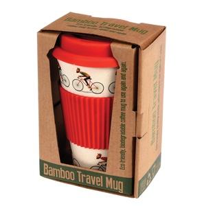 Drinkbeker bamboe voor onderweg design 'Bicycle'
