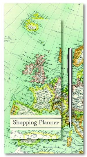 Shopping planner magnetisch + pen - vintage map