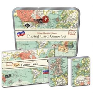 Speelkaarten en dobbelstenenset in tinnen doos - vintage map