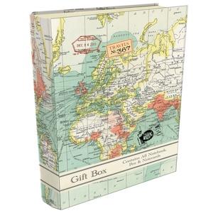 Boekensteun cadeau set - vintage map
