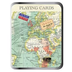 Set speelkaarten - vintage map