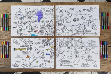 Placemat met wereldkaart set 4 stuks
