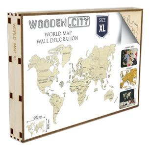 Wereld kaart in hout XL