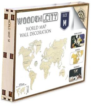 Wereld kaart in hout M