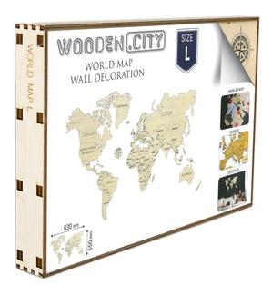 Wereld kaart in hout L