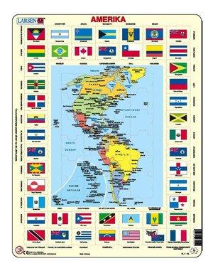 Puzzel Kaart/vlaggen Amerika Larsen Kl4