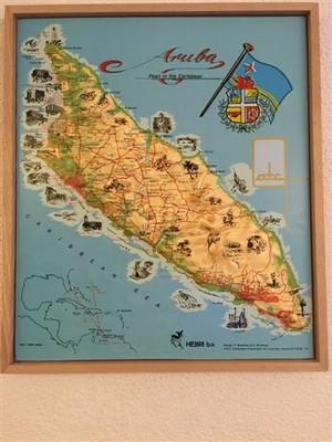 Aruba Relief Met Houten Lijst