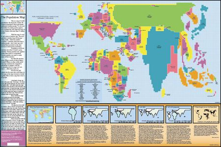 Population World Map Geplastificeerd 135 X 90 Cm
