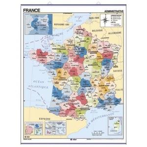 Frankrijk Wandkaart Edigol Pol/phys