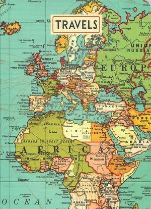 Vintage World Map Travels Notebook