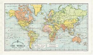 Vintage Tea Towel World Map theedoek