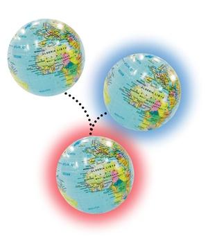 Globe 30 inflatable Led light: red, blue & white
