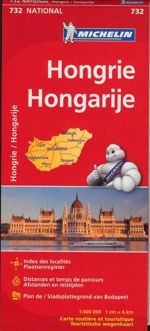 732 Michelin National - Hongarije Landkaart Wegenkaart - 1: 400.000