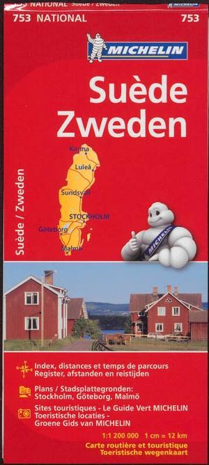 753 Michelin National - Zweden Landkaart Wegenkaart - 1: 1.200.000