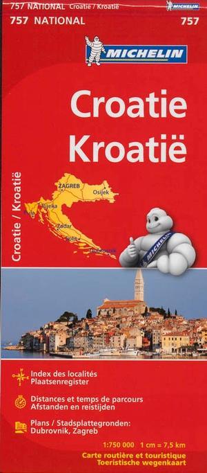 757 Michelin National - Kroatie Landkaart Wegenkaart 1:750.000