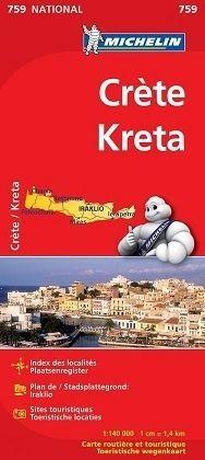 759 Michelin National - Kreta Landkaart Wegenkaart 1:140.000