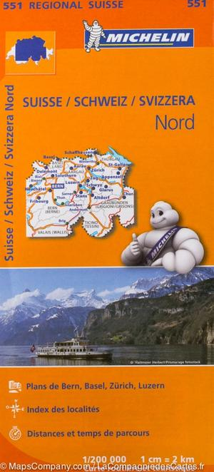 551 Michelin Regional - Zwitserland Noord Wegenkaart Fietskaart /zwitserland - 1:200.000