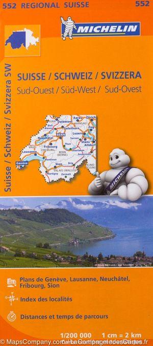 552 Michelin Regional - Zwitserland Zuid-west Wegenkaart Fietskaart / Zwitserland - 1:200.000
