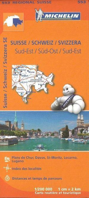 553 Michelin Regional - Zwitserland Zuid-oost Wegenkaart Fietskaart / Zwitserland - 1:200.000