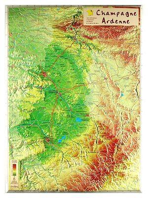 Champagne Ardenne Reliefkaart Georelief