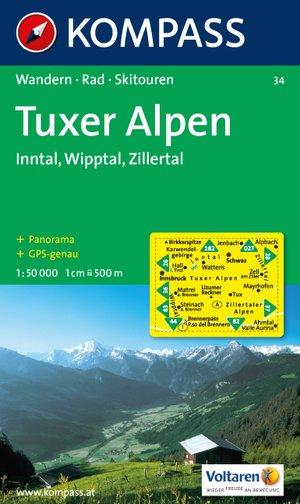 Kompass WK34 Tuxer Alpen