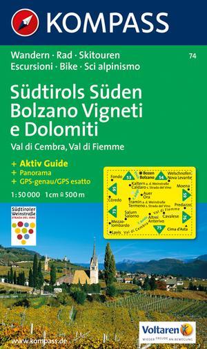 Kompass WK74 Südtirols Süden, Bolzano Vigneti e Dolomiti