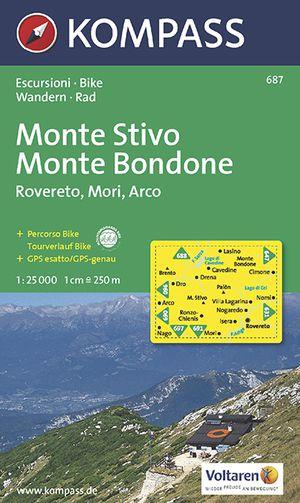 Kompass WK687 Monte Stivo, Monte Bondone, Roverto, Mori, Arco