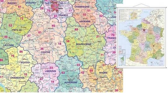 Departement & Postcode Frankrijk Plano-karte