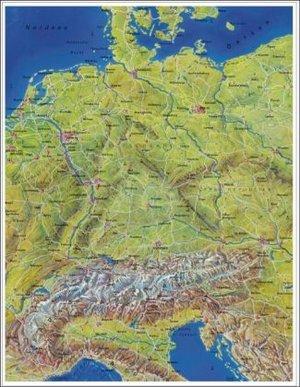 Deutschsprachige Lander Panoramakarte 97 X 136 Cm Plano