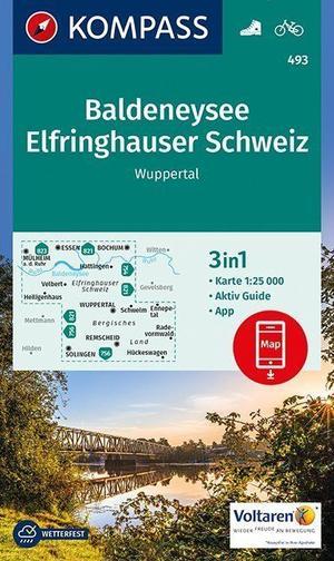 Baldeneysee, Elfrinhauser Schweiz, Wuppertal Kompass wandel/fietskaart WK493
