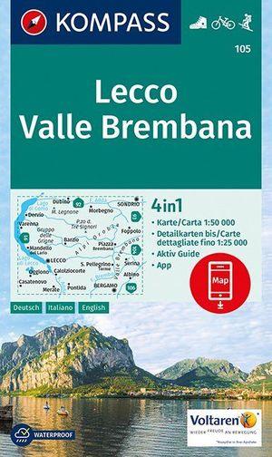 Kompass WK105 Lecco-Valle Brembabana