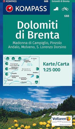 Kompass WK688 Gruppo di Brenta, Madonna di Campiglio, Andalo, Molveno