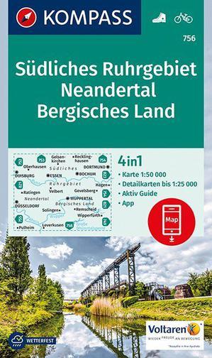 Südliches Ruhrgebiet, Neandertal, Bergisches Land Kompass wandel/fietskaart WK756