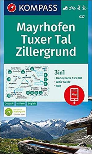 Kompass Wk037 Mayrhofen, Tuxer Tal, Zillergrund