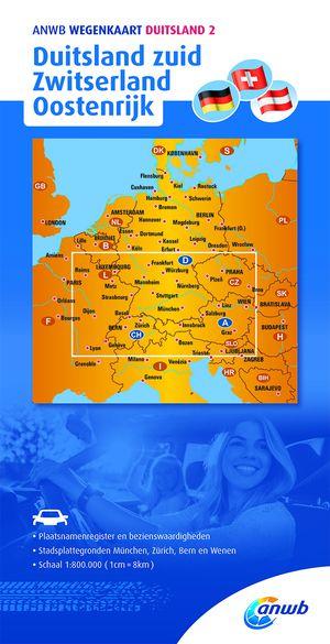 ANWB wegenkaart Duitsland 2. Duitsland zuid/Zwitserland/Oostenrijk