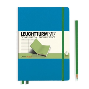 Leuchtturm A5 Medium Azure-lime Ruled Bicolore Notebook
