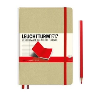 Leuchtturm A5 Medium Sand-red Ruled Bicolore Notebook