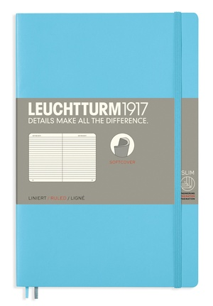 Leuchtturm B6+ ice blue ruled slim softcover notebook