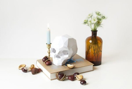 Paper Skull XL Sapiens Folding Kit - White / Papieren Schedel XL Vouwkit
