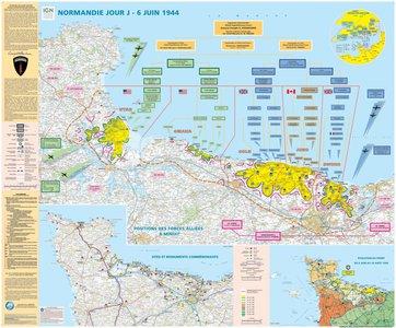 Normandie Jour J wandkaart geplastificeerd