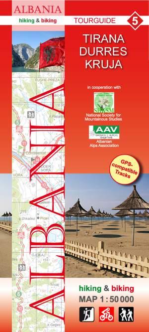 Albania hiking & biking 1:50 000 Karte 5: Tirana - Durres - Kruja