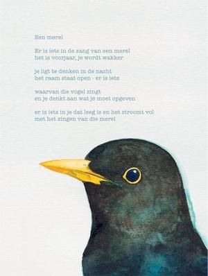 Poëzieposter Plint Rutger Kopland 'Een merel' / Giovanni Dalessi - 1120