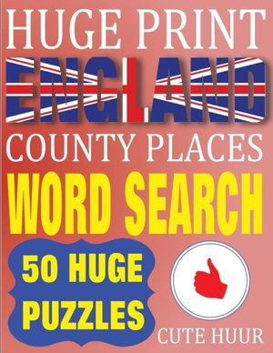 Huge Print England County Places Word Search