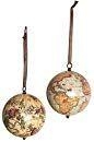 Set hangende Mercator globes Earth & Heavens met lint