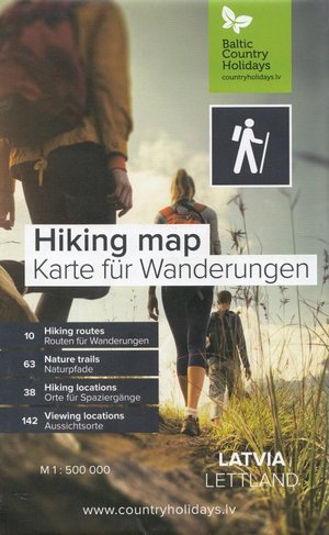 Hiking Map Letland 1:500d Lauku Celotajs