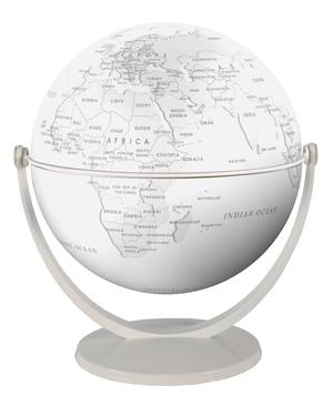 Globe 15 cm pol. blanc stylisé tournant & basculant
