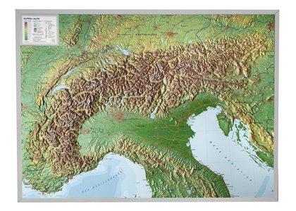 Alpen reliëf kaart ALU kader