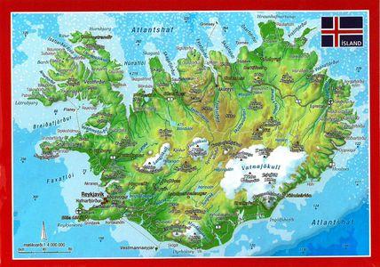 IJsland reliëfpostkaart